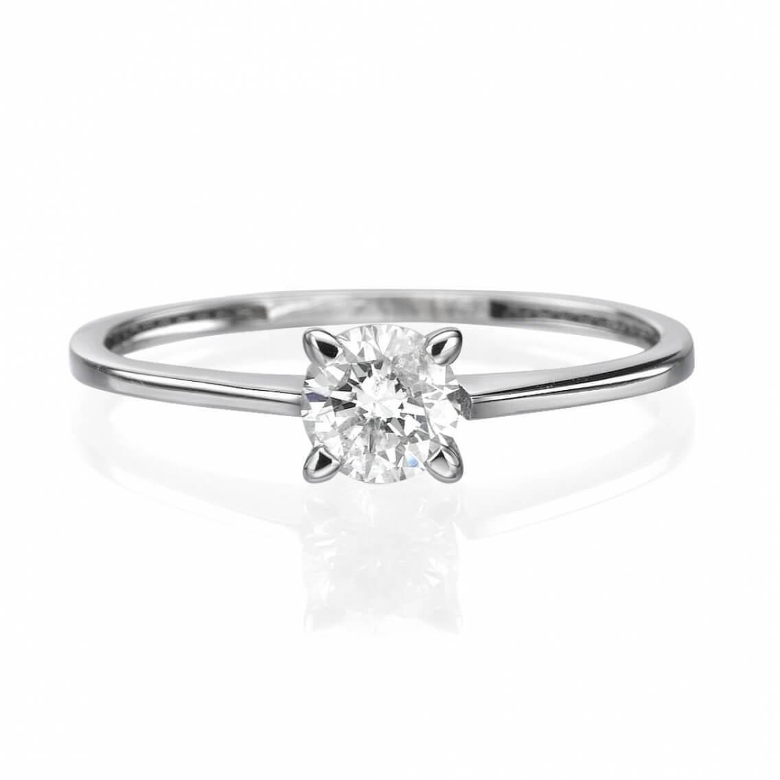 מתוחכם טבעת אירוסין סוליטר זהב לבן 25 נקודות דגם אוליביה - סטארקס תכשיטים ZX-54