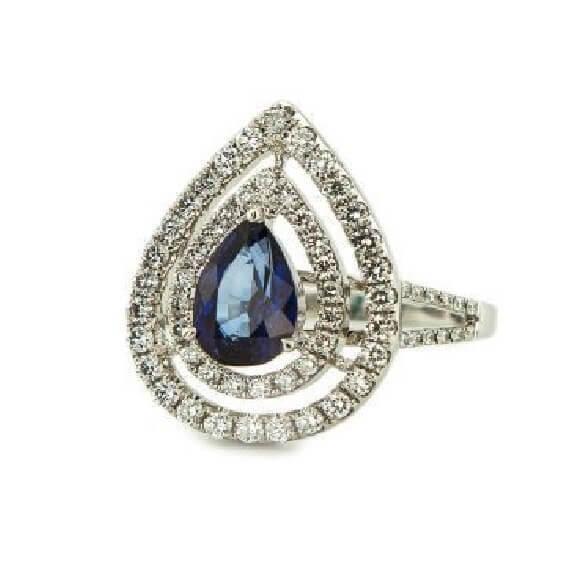 טבעות יהלומים בשילוב אבן חן ספיר כחול 1.75 קראט