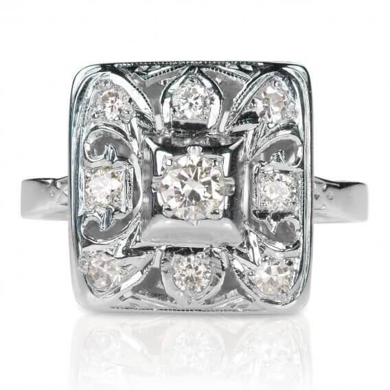 טבעות יהלומים מרובעת זהב לבן בעיצוב מיוחד 0.48 קראט - אלכס