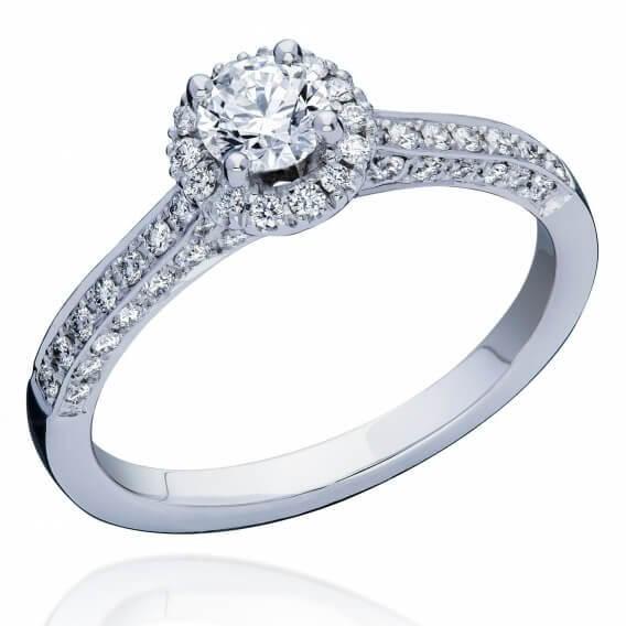טבעת אירוסין בשיבוץ יהלומים וזהב לבן 62 נקודות הילית