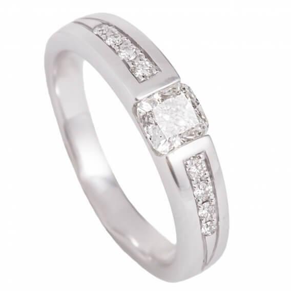 טבעת אירוסין בשילוב זהב לבן יהלום מרובע 1/2 קראט