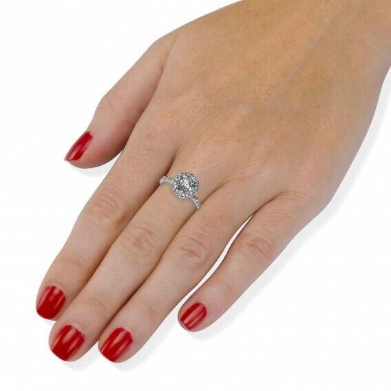 טבעת אירוסין בשילוב זהב לבן יהלום מרכזי 1 קראט