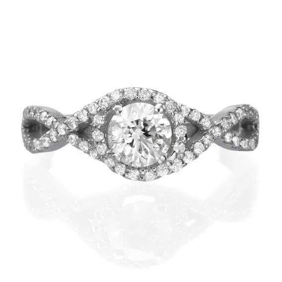 טבעת אירוסין וינטאג' בשיבוץ יהלומים 1 קראט - ניקה