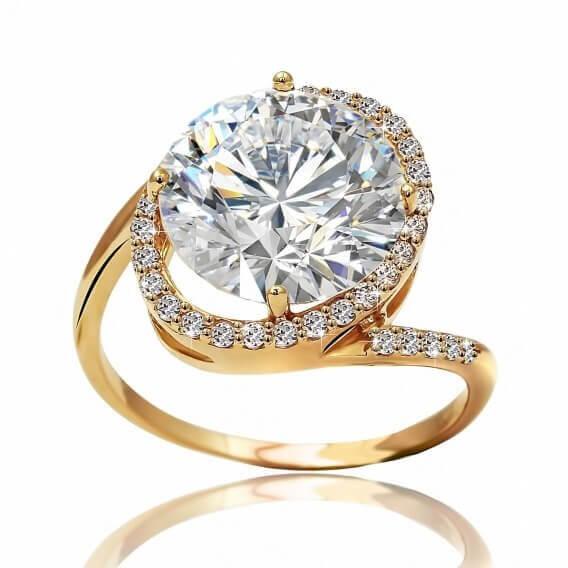 טבעת אירוסין וינטאג' בשילוב זהב צהוב 1.50 קראט