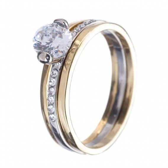 טבעת אירוסין וינטאג' זהב לבן וצהוב 0.42 קראט