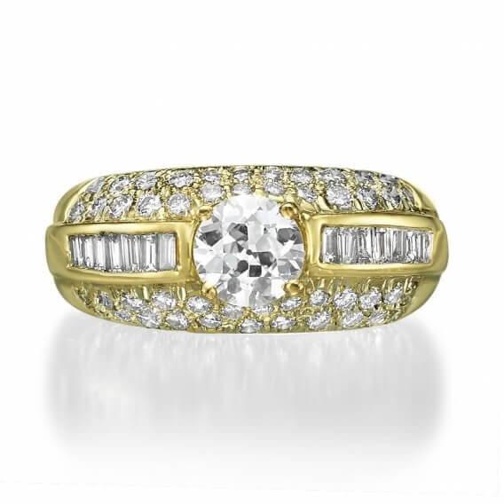 טבעת אירוסין וינטאג' זהב צהוב 2.79 קראט