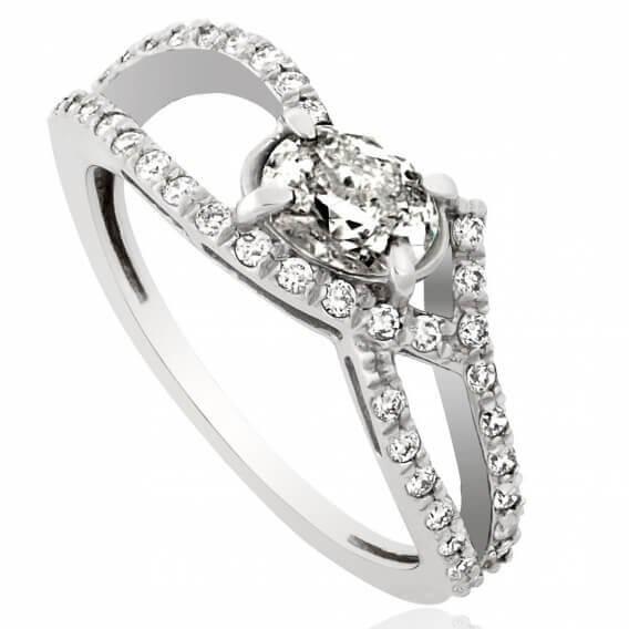 טבעת אירוסין וינטאג' יוקרתית אמבר זהב לבן 0.99 קראט