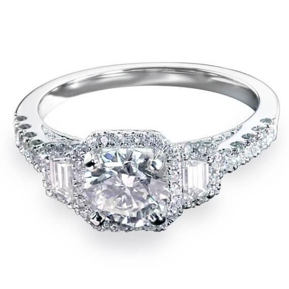 טבעת אירוסין וינטאג' יוקרתית בשיבוץ יהלומים וזהב לבן דן 1.62 קראט
