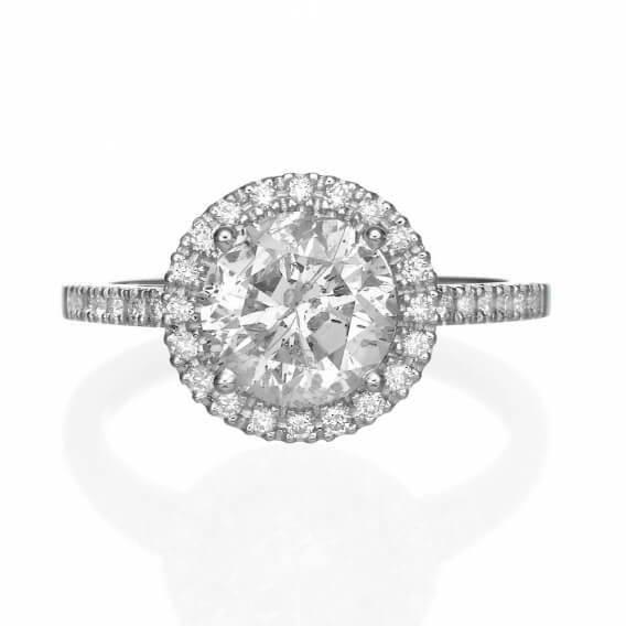 טבעת אירוסין וינטאג' יוקרתית זהב לבן אודל 2.54 קראט