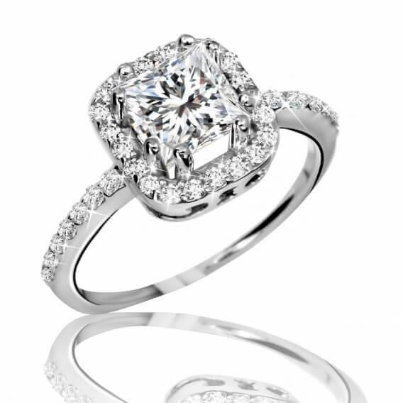 טבעת אירוסין וינטאג' יוקרתית זהב לבן 0.67 קראט - דנה