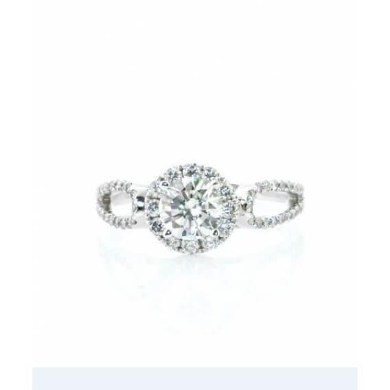 טבעת אירוסין וינטאג' יוקרתית זהב לבן 1.15 קראט
