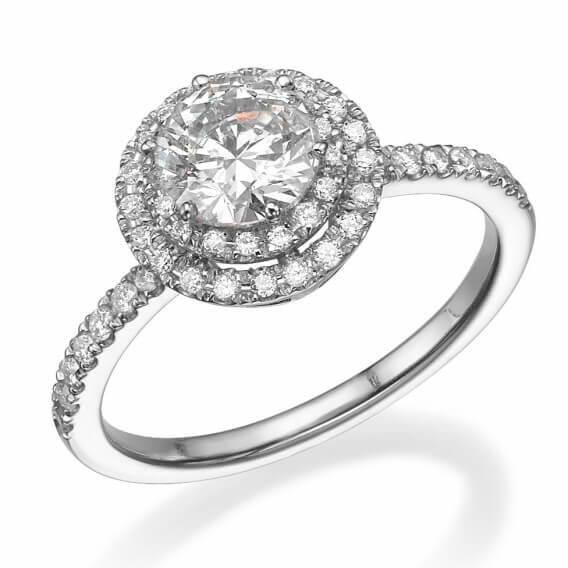 טבעת אירוסין וינטאג' יוקרתית זהב לבן 1.67 קראט מעיין
