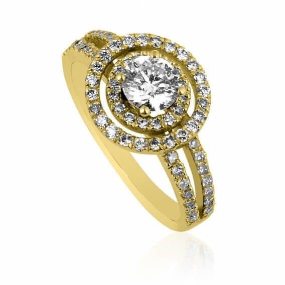 טבעת אירוסין וינטאג' יוקרתית 2 שורות יהלומים 1.20 קראט