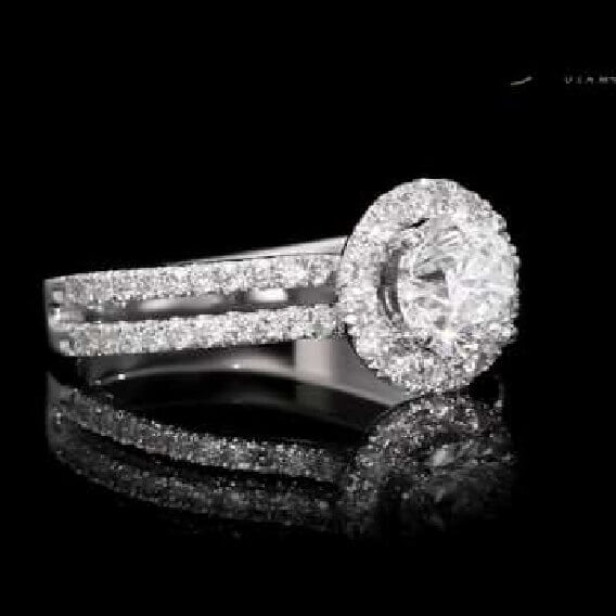 טבעת אירוסין וינטאג' מרשימה 1.15 קראט זהב לבן - איליתיה
