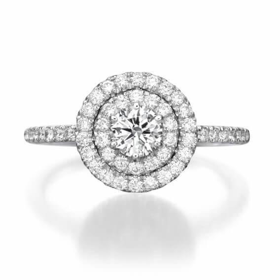 טבעת אירוסין וינטאג' משובצת יהלומים זהב לבן - הילה