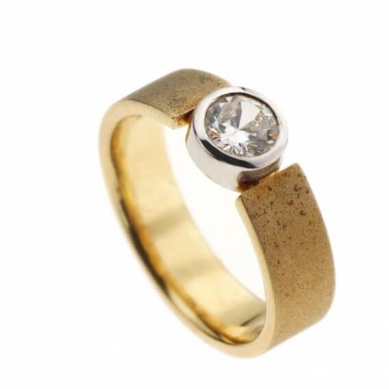 טבעת אירוסין וינטאג' סוליטר זהב צהוב 26 נקודות - אוולין