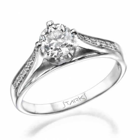טבעת אירוסין וינטאג' קלאסית בשיבוץ יהלומים וזהב אדל