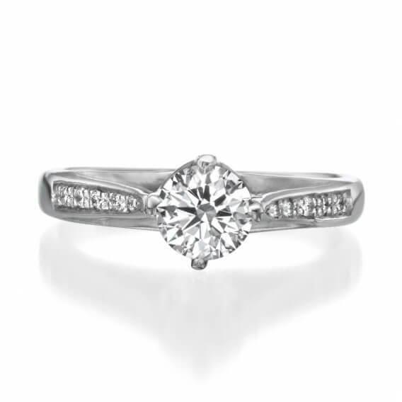 טבעת אירוסין וינטאג' 1 קראט יהלום עגול זהב לבן אדל