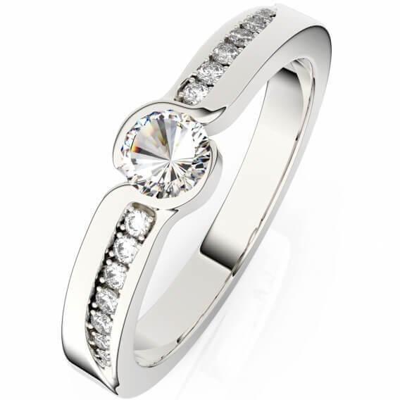 טבעת אירוסין יוקרתית בשיבוץ יהלומים זהב לבן 0.51 קראט - ברוקר