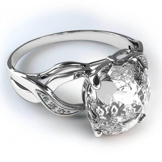 טבעת אירוסין יוקרתית בשילוב זהב לבן קראט וחצי