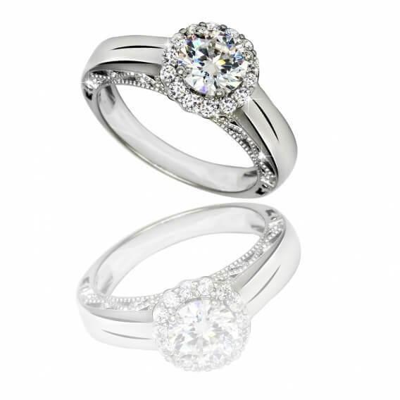 טבעת אירוסין יוקרתית בשילוב זהב לבן 0.43 קראט - מיקה