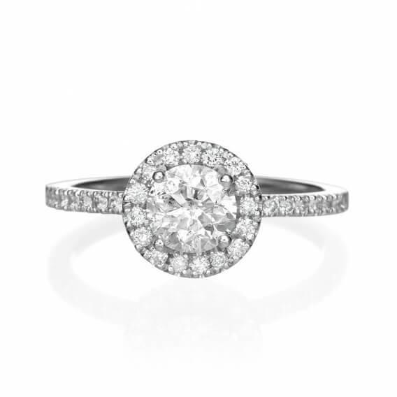 טבעת אירוסין יוקרתית בשילוב זהב לבן 0.61 קראט