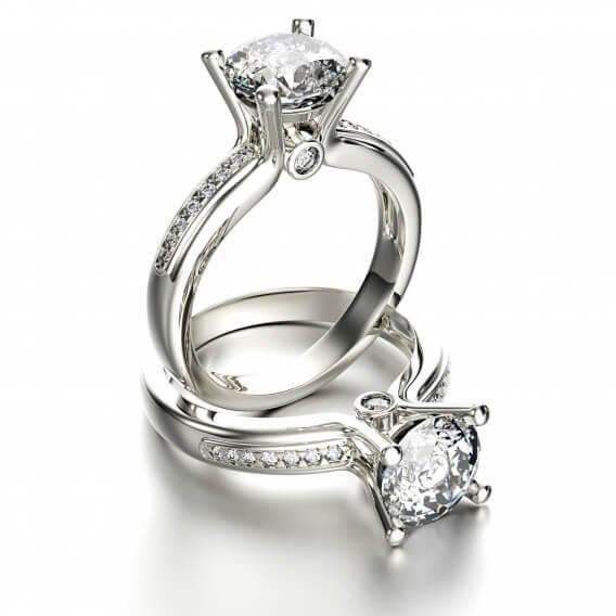 טבעת אירוסין יוקרתית זהב לבן 0.56 קראט - קייטלין