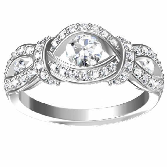טבעת אירוסין יוקרתית זהב לבן 0.64 קראט - ג'ורגיה