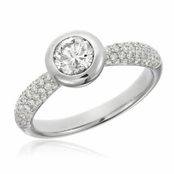 טבעת אירוסין יוקרתית זהב לבן 0.66 קראט - נינה