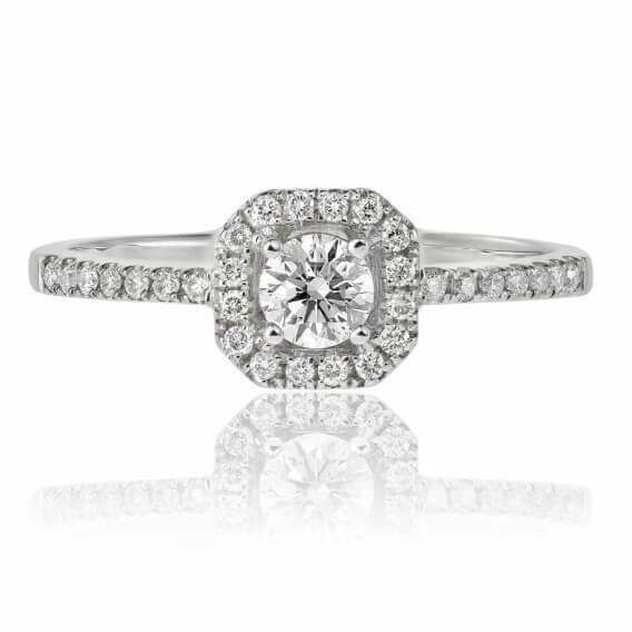 טבעת אירוסין יוקרתית זהב לבן 0.72 קראט -רונדה