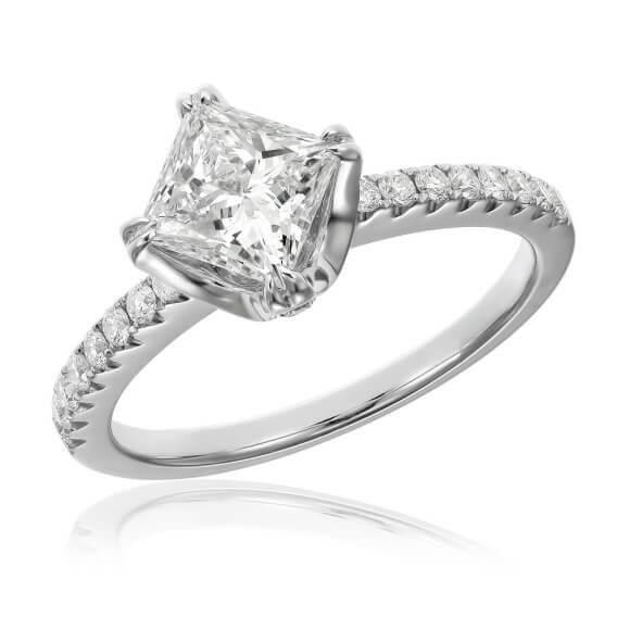 טבעת אירוסין יוקרתית יהלום מרובע 1 קראט