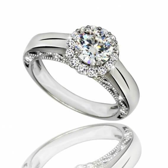 טבעת אירוסין יוקרתית משובצת יהלומים וזהב לבן 0.43 קראט -עלמה