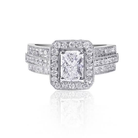 טבעת אירוסין יוקרתית משובצת יהלומים וזהב לבן 2.82 קראט - סטפני