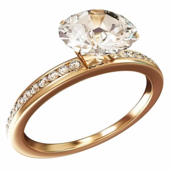 טבעת אירוסין יוקרתית סוליטר בשילוב זהב צהוב 1.15 קראט