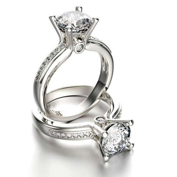 טבעת אירוסין יוקרתית סוליטר חצי קראט זהב לבן