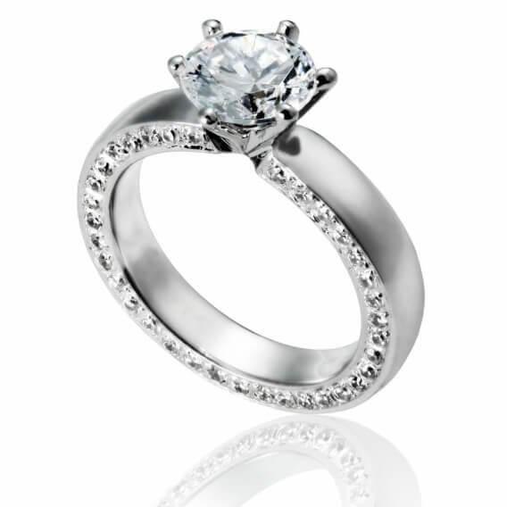 טבעת אירוסין יוקרתית עם 40 יהלומים 0.76 קראט - מילי