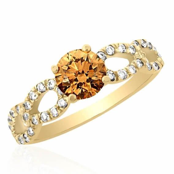 טבעת אירוסין מעוצבת בשילוב יהלום חום 1.20 קראט - אנאבל