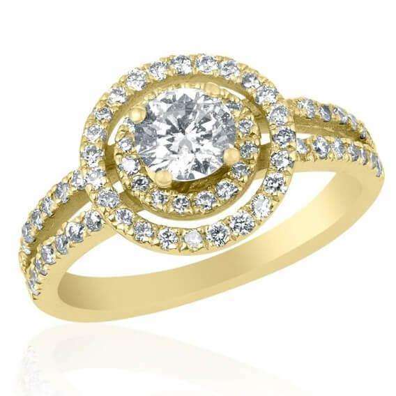 טבעת אירוסין משובצת 2 שורות יהלומים זהב צהוב