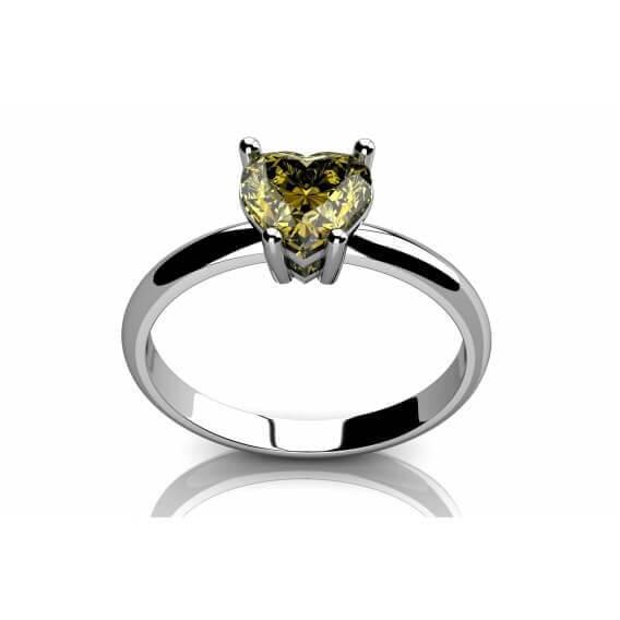 טבעת אירוסין סוליטר בעיצוב לב זהב לבן 32 נקודות - ארבל