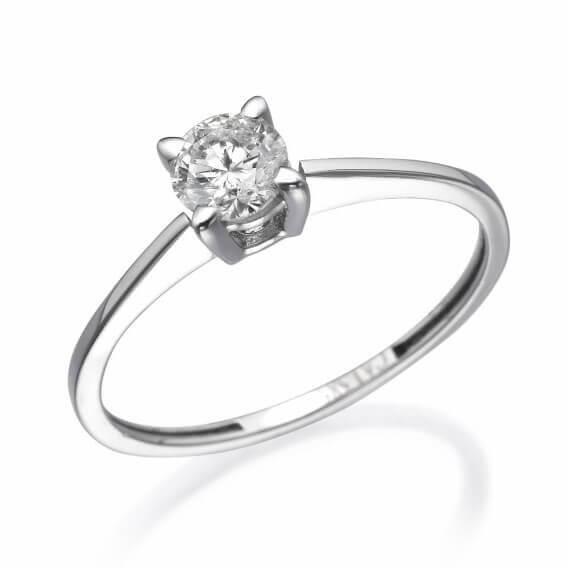 טבעת אירוסין סוליטר זהב לבן 25 נקודות דגם אוליביה