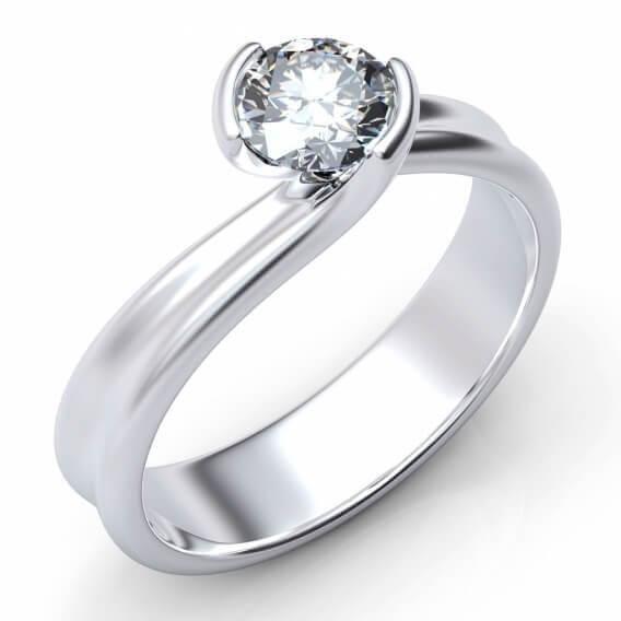טבעת אירוסין סוליטר זהב לבן 25 נקודות - ליזה