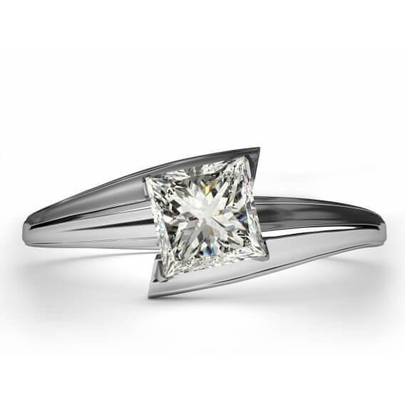 טבעת אירוסין סוליטר זהב לבן 26 נקודות - נלי