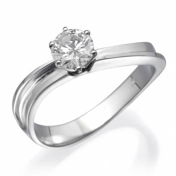 טבעת אירוסין סוליטר זהב לבן 26 נקודות רוזי