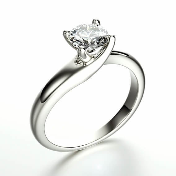 טבעת אירוסין סוליטר קלאסית זהב לבן 1 קראט