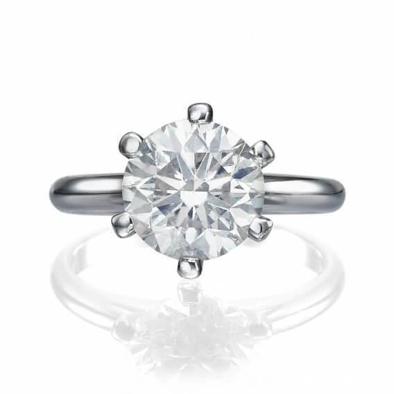טבעת אירוסין סוליטר 2 קראט זהב לבן