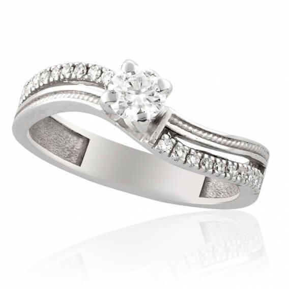 טבעת אירוסין עדינה בשילוב זהב לבן חצי קראט
