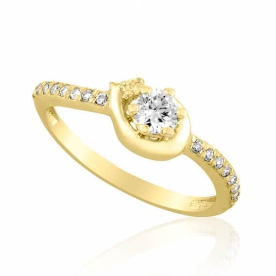 טבעת אירוסין עדינה זהב צהוב חצי קראט