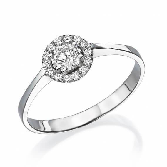 טבעת יהלומים קלאסית בשילוב זהב לבן שרונה