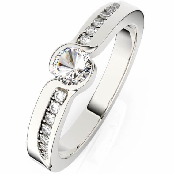 טבעת יהלומים קלאסית זהב לבן - ליבת