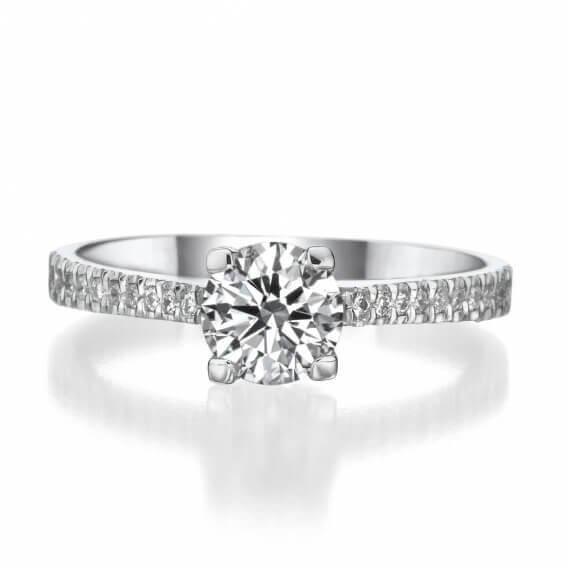 טבעת אירוסין קלאסית זהב לבן ננסי 93 נקודות